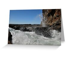 Wave splsahes at lava field at Secret Cove of Palos Verdes, CA Greeting Card
