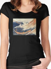 'A Wild Sea At Choshi' by Katsushika Hokusai (Reproduction) Women's Fitted Scoop T-Shirt