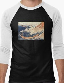 'A Wild Sea At Choshi' by Katsushika Hokusai (Reproduction) Men's Baseball ¾ T-Shirt
