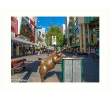Rundle Mall - Looking down the Rundle Mall past the Pigs Art Print