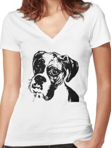 Boxer Eyes Graphic ~ black  Women's Fitted V-Neck T-Shirt
