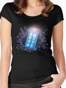 Wibbly-Wobbley Timey-Watercolor Women's Fitted Scoop T-Shirt
