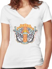 two hearts connection, psychedelic sci-fi Women's Fitted V-Neck T-Shirt