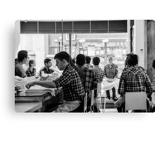 Staff briefing at ABC Kitchens Canvas Print