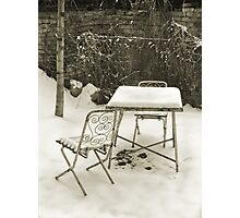 Vintage metal chairs covered with snow Photographic Print