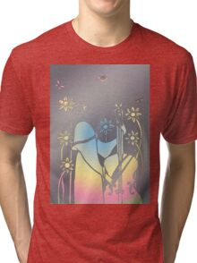 Musician in hole punched tin - very precious - please enlarge Tri-blend T-Shirt