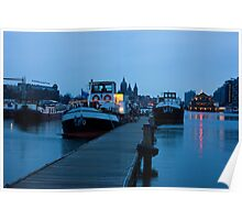 Port Of Amsterdam Before Dawn Poster