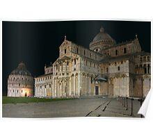 Nightshot of Piazza dei Miracoli in Pisa Poster