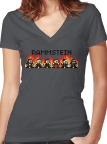 Rammstein 8-bit Flame Women's Fitted V-Neck T-Shirt