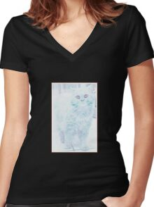 winter feline icy cat Women's Fitted V-Neck T-Shirt