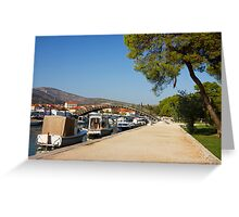 Trogir Waterfront with boats lined along the coast Greeting Card