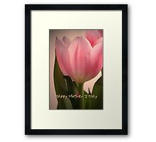 Pink Tulip Happy Mother's Day card Framed Print
