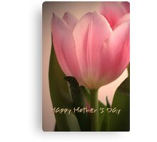 Pink Tulip Happy Mother's Day card Canvas Print