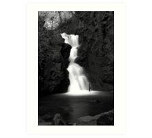Gleno Waterfall Black and White Art Print