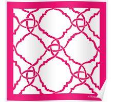 classic modern lattice bright pink Poster