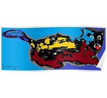 Cat/Kitten -(260313)- Digital art/Mouse drawing/Microsoft Paint Poster
