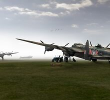 Lancasters on dispersal, colour version by Gary Eason