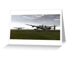 Lancasters on dispersal, colour version Greeting Card