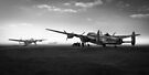 Lancasters on dispersal, black and white version by Gary Eason