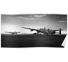 Lancasters on dispersal, black and white version Poster