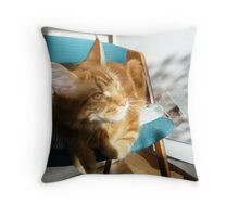 Yellow Eyes on a Red Kitten Throw Pillow