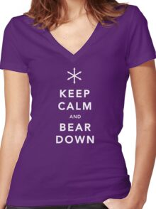 Keep Calm and Bear Down Women's Fitted V-Neck T-Shirt