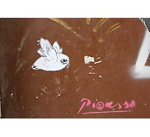"Paper Paste Up Graffiti - ""Picasso Bird"" Photographic Print"