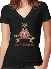 Montecristo Cuban Cigar Women's Fitted V-Neck T-Shirt
