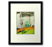 wash day with green and white plastic chairs Framed Print