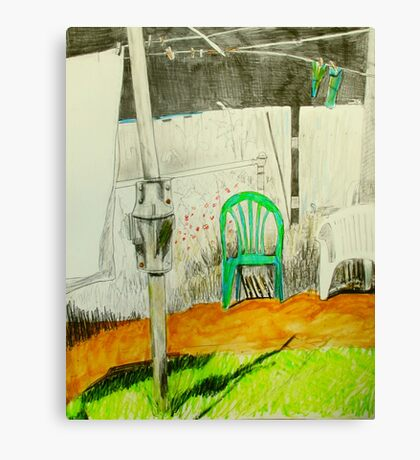 wash day with green and white plastic chairs Canvas Print