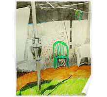 wash day with green and white plastic chairs Poster