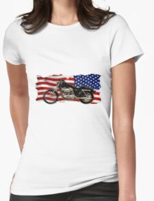 Patriotic US Flag, Motorcycle, Motorbike Womens Fitted T-Shirt