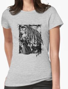 The Girl With The Wings B&W Womens Fitted T-Shirt