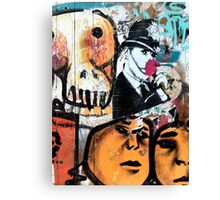 Banksy Style Copper and Flower Canvas Print