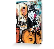Banksy Style Copper and Flower Greeting Card