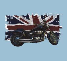 Patriotic Union Jack, UK Union Flag, Motorcycle Baby Tee