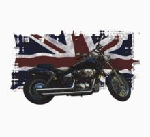 Patriotic Union Jack, UK Union Flag, Motorcycle Kids Tee