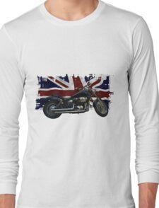 Patriotic Union Jack, UK Union Flag, Motorcycle Long Sleeve T-Shirt