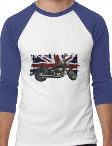 Patriotic Union Jack, UK Union Flag, Motorcycle Men's Baseball ¾ T-Shirt