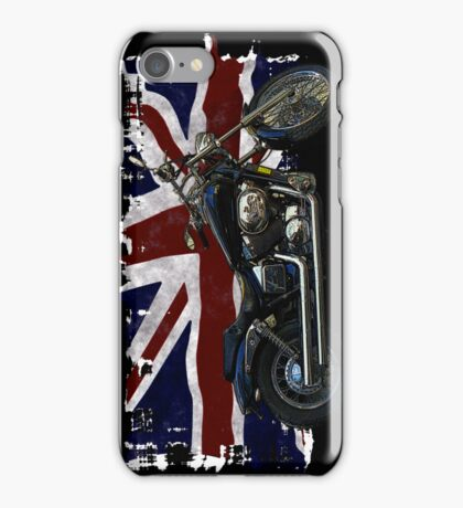 Patriotic Union Jack, UK Union Flag, Motorcycle iPhone Case/Skin