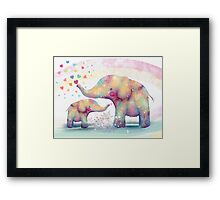 elephant affection Framed Print