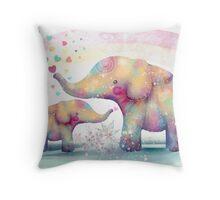 elephant affection Throw Pillow