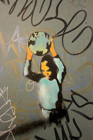 "Banksy Style Stencil Graffiti -  ""World Games"" by Punk60"