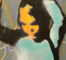 "Banksy Style Stencil Graffiti -  ""World Games"" Sticker"