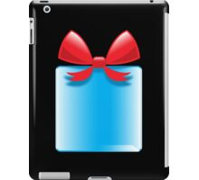 Blue gift or present with a red bow iPad Case/Skin