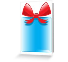 Blue gift or present with a red bow Greeting Card