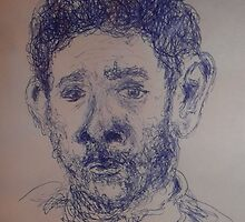 Self-portrait/Close up -(270313)- A5 Sketchbook/Blue biro pen by paulramnora
