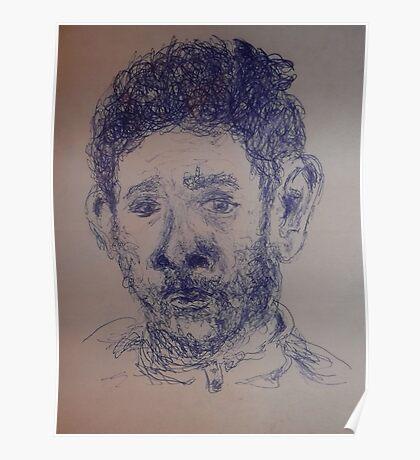 Self-portrait/Close up -(270313)- A5 Sketchbook/Blue biro pen Poster