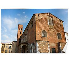 The Church of San Romano facade in Lucca Italy Poster