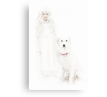 Winter Girl and Her Dog Canvas Print
